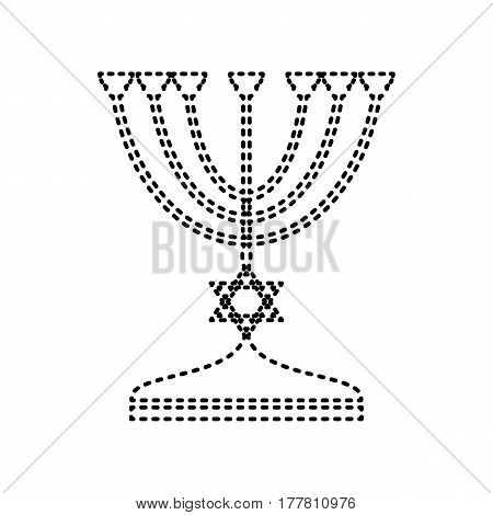 Jewish Menorah candlestick in black silhouette. Vector. Black dashed icon on white background. Isolated.