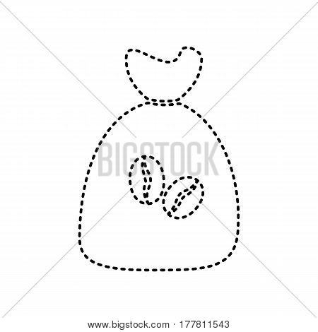Coffee bag Icon. Coffee bag Vector. Coffee bag Icon Button. Vector. Black dashed icon on white background. Isolated.