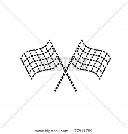 Crossed checkered flags logo waving in the wind conceptual of motor sport. Vector. Black dashed icon on white background. Isolated.