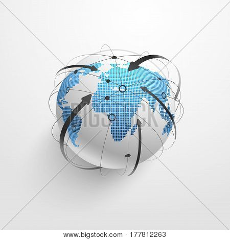 Global network connection, Digital network background, Internet technology. Vector illustration