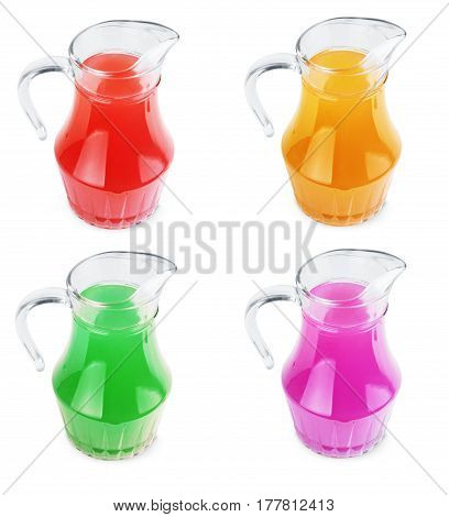 Jug of juice on white background With different tastes and different colors of the set