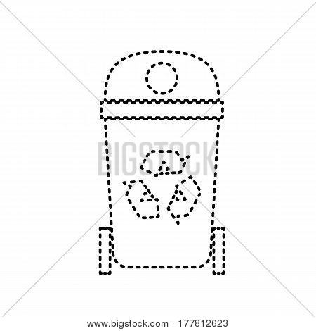 Trashcan sign illustration. Vector. Black dashed icon on white background. Isolated.