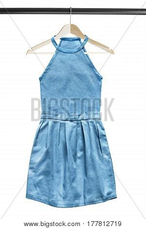 Blue halter neckline sundress on wooden clothes rack isolated over white