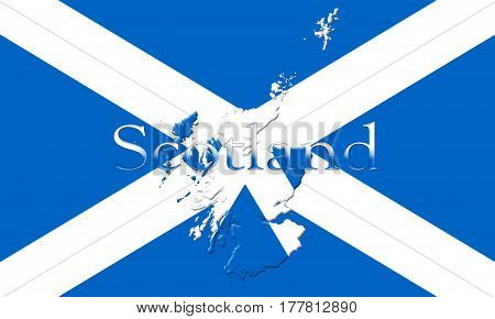 Flag Of Scotland With Country Map And Name On It 3D Illustration