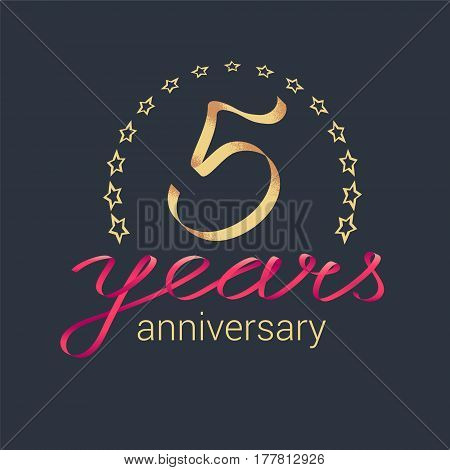 5 years anniversary vector icon logo. Graphic design element with golden realistic ribbon curls for decoration for 5th anniversary