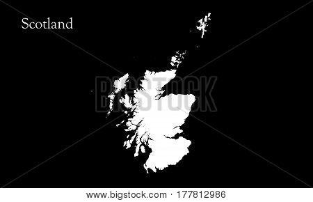 Map Of Scotland Alpha Channel On Black Background 3D Illustration