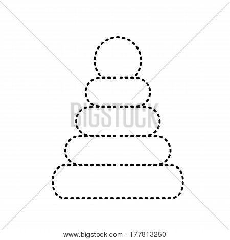 Pyramid sign illustration. Vector. Black dashed icon on white background. Isolated.