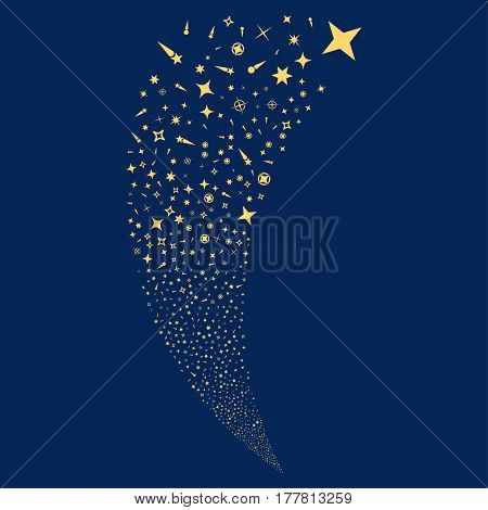 Confetti Stars random fireworks stream. Vector illustration style is flat yellow iconic symbols on a blue background. Object fountain done from scattered pictographs.