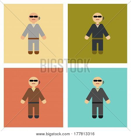 assembly of flat icons poker male guard