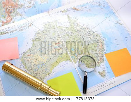 Map A telescope magnifying glass to study and travel