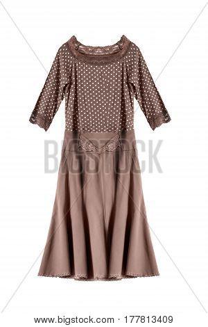 Brown silk elegant polka dots dress on white background