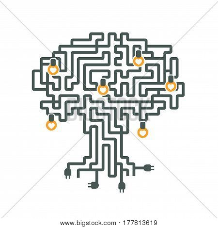 Vector illustration. A maze of electric wires with a plug and a light bulb in style flat icon on white background.