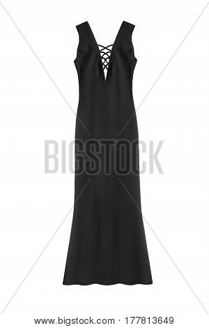 Black long formal dress with laces isolated over white