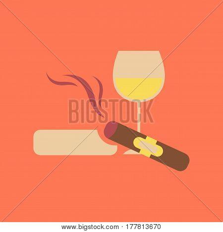 flat icon on stylish background poker cigar glass of wine