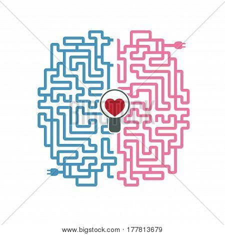 Creative vector illustration, a labyrinth of electric wires in the form of a brain with a plug and a light bulb with a heart in a flat style