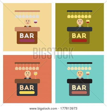 assembly of flat icons icon poker bar bartender