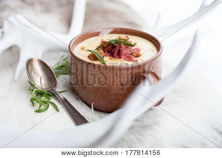 Reindeer soup with smoked reindeer meat