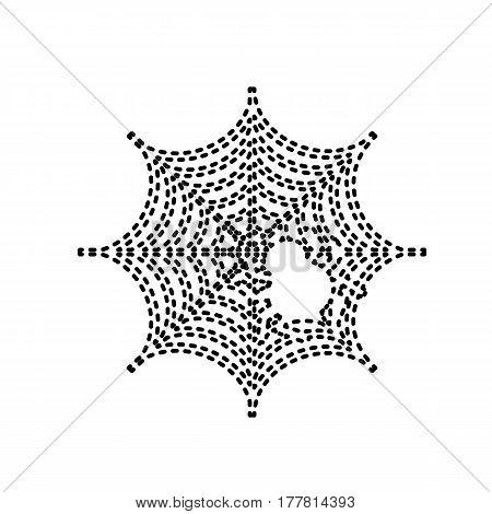 Spider on web illustration Vector. Black dashed icon on white background. Isolated.