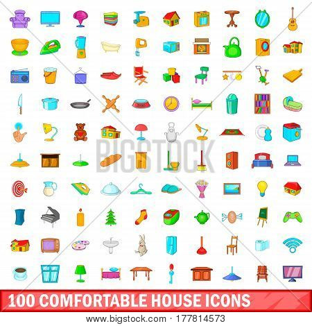 100 comfortable house icons set in cartoon style for any design vector illustration