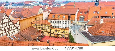 Bamberg city center aerial panoramic banner view with half-timbered colorful houses
