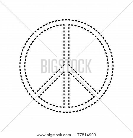 Peace sign illustration. Vector. Black dashed icon on white background. Isolated.