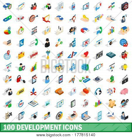 100 development icons set in isometric 3d style for any design vector illustration