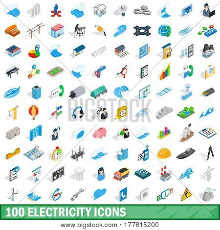 100 electricity icons set in isometric 3d style for any design vector illustration