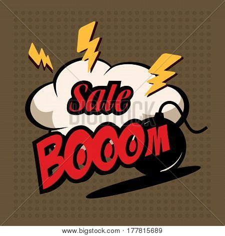 Illustration Of A Sale Bom With A Burning Cord, Super Discounts