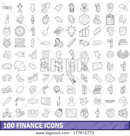 100 finance icons set in outline style for any design vector illustration