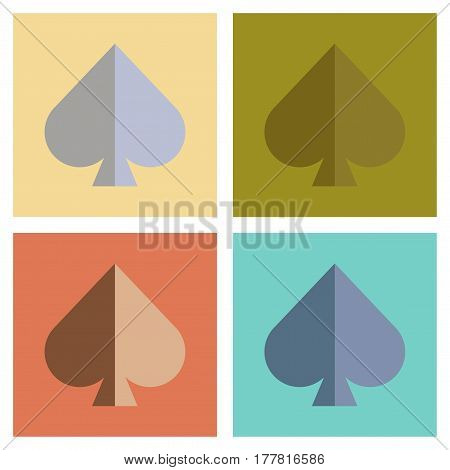 assembly of flat icons poker game spades