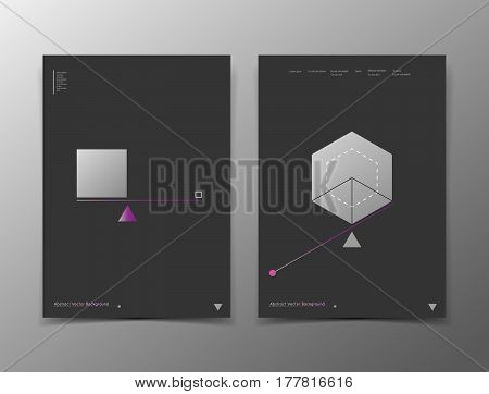 Abstract composition. White black a4 brochure cover design. Info banner frame. Text font. Title sheet model set. Modern vector front page. Brand logo. Grey color figures image icon. Ad flyer