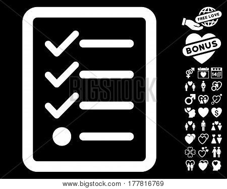 Checklist icon with bonus amour graphic icons. Vector illustration style is flat iconic white symbols on black background.
