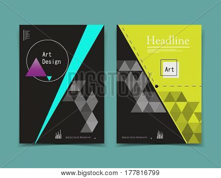 Abstract composition. Black yellow a4 brochure cover design. Patch info banner frame. Text font. Title sheet model set. Vector front page. Brand logo texture. Color figures image icon. Ad flyer