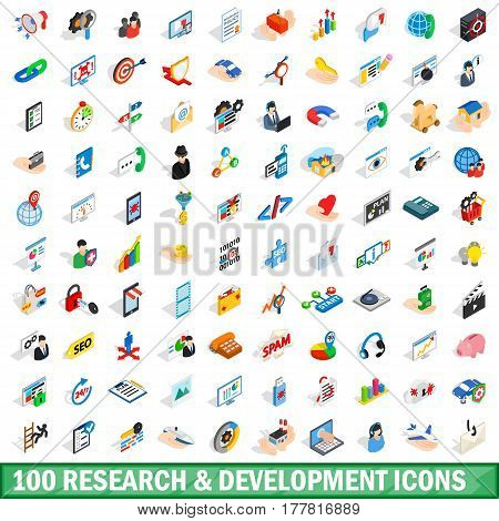 100 research development icons set in isometric 3d style for any design vector illustration