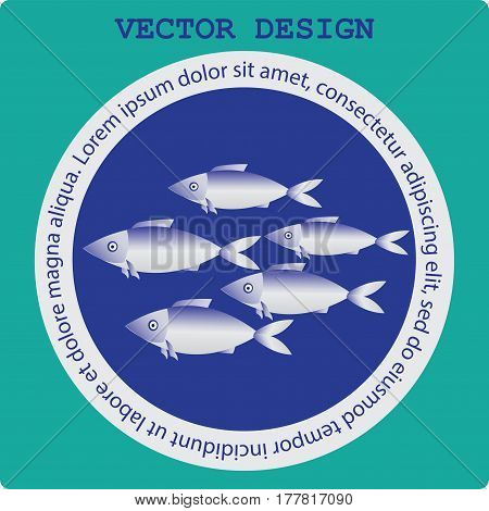 Flock of fish in a circle. Icon on blue background. Restaurant, seafood, fish market. Vector images. The concept of labels for seafood.