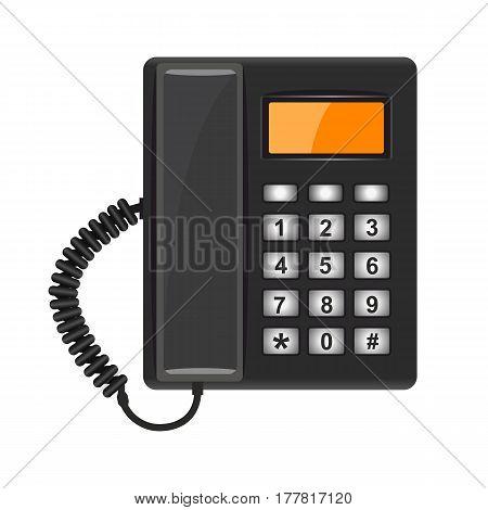 Illustration Realistic Black Telephone On White Background