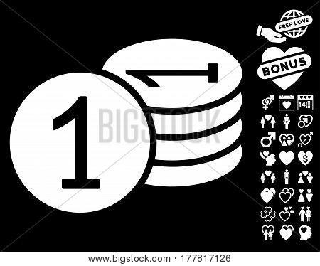 Coins icon with bonus marriage design elements. Vector illustration style is flat iconic white symbols on black background.
