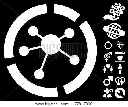 Connections Diagram icon with bonus valentine pictures. Vector illustration style is flat iconic white symbols on black background.