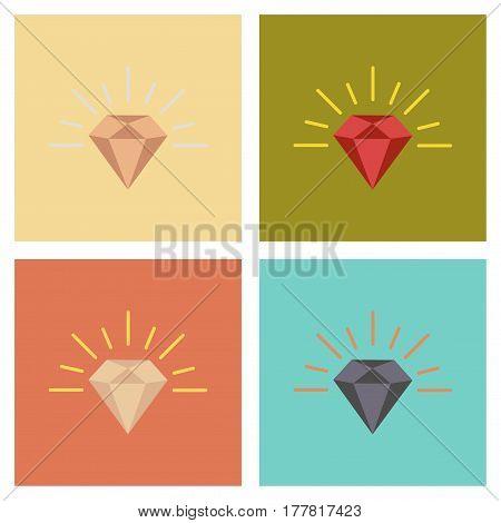 assembly of flat icons poker diamond symbol
