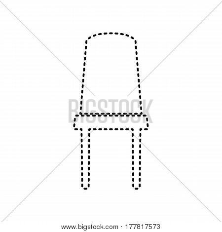 Office chair sign. Vector. Black dashed icon on white background. Isolated.