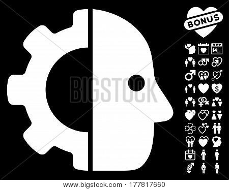 Cyborg icon with bonus decorative images. Vector illustration style is flat iconic white symbols on black background.