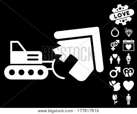 Demolition pictograph with bonus love pictures. Vector illustration style is flat iconic white symbols on black background.