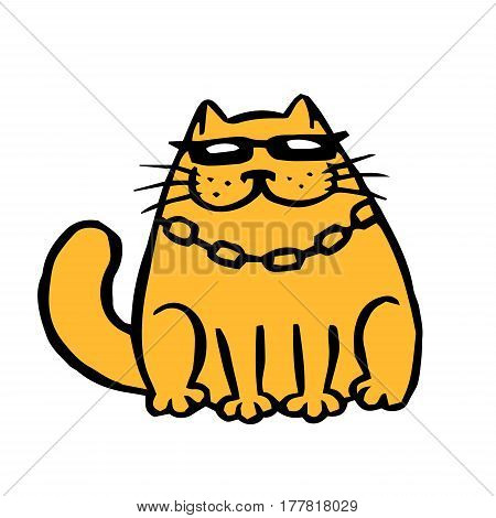 Orange cat in black glasses and chain. Funny cartoon cool character. Contour freehand digital drawing cute cat. White color background. Cheerful pet for web icons and shirt. Isolated vector illustration.