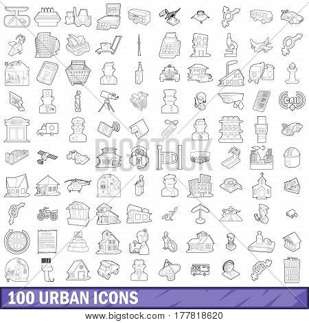 100 urban icons set in outline style for any design vector illustration