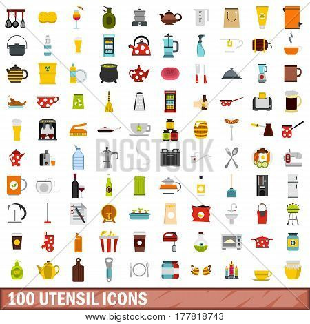 100 utensil icons set in flat style for any design vector illustration