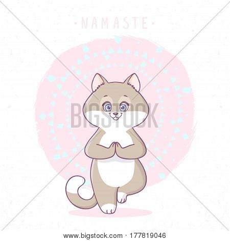 Cute cartoon cat practicing yoga. Asana tree. Vector illustration. Childrens yoga