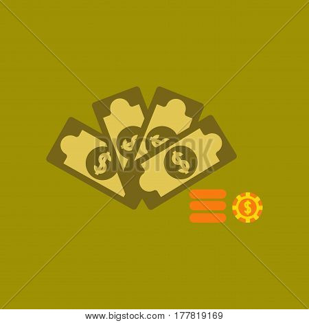 flat icon on stylish background Money dice chips