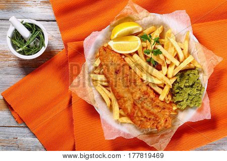 Fried Cod, French Fries, Lemon Slices