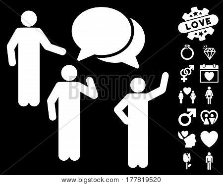 Forum pictograph with bonus amour symbols. Vector illustration style is flat iconic white symbols on black background.