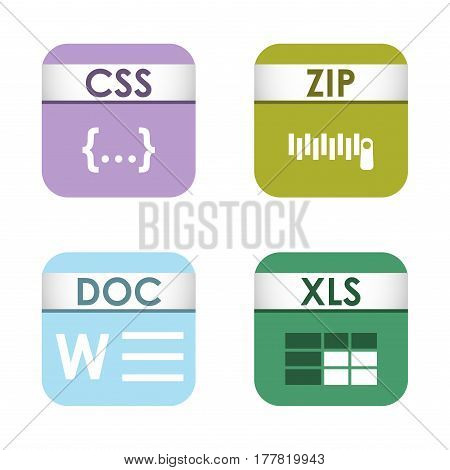 Simple square file types formats labels icon set presentation document symbol and audio extension graphic multimedia sign vector illustration. Application computer software folder.
